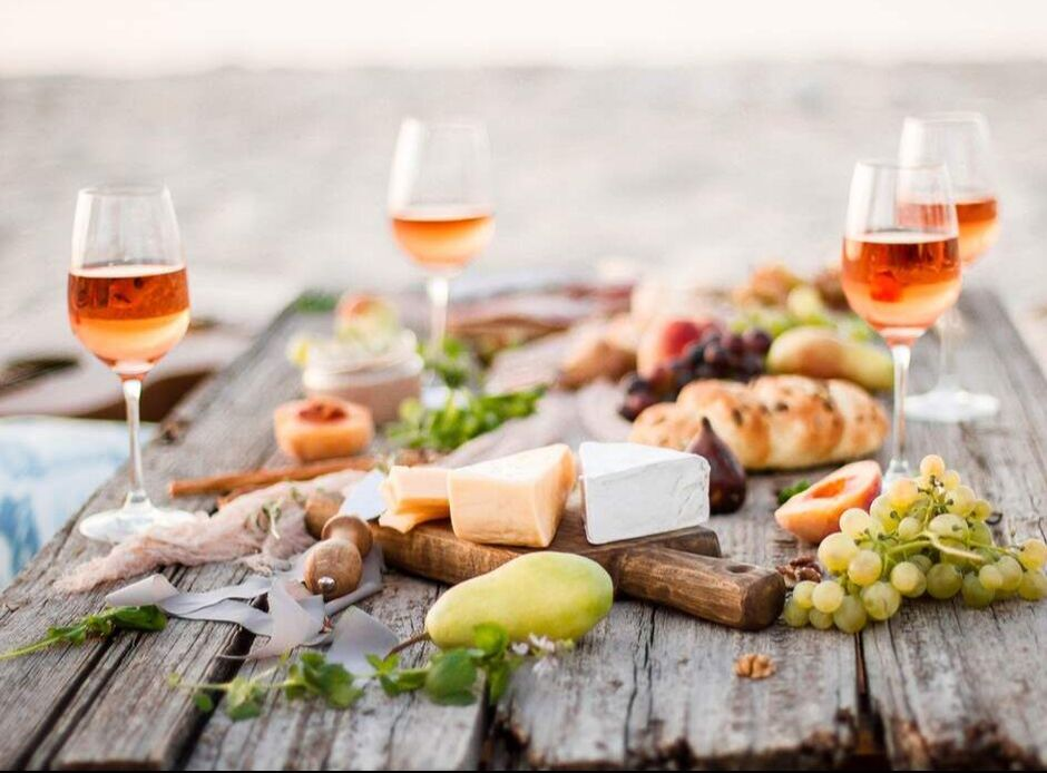 Wine with bread and cheese assortments